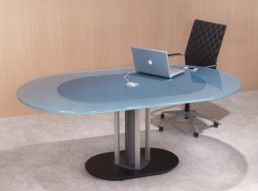 Racetrack shape glass top table and oval glass meeting table with a single pedestal conference room tables with integrated wiring and a wood stone or glass top provide a bold look for todays modern office keyboard keysfo Images