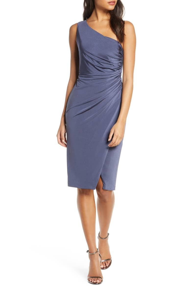 Eliza J Ruched One Shoulder Cocktail Dress Nordstrom Cocktail Dress One Shoulder Cocktail Dress Fashion Clothes Women [ 1196 x 780 Pixel ]
