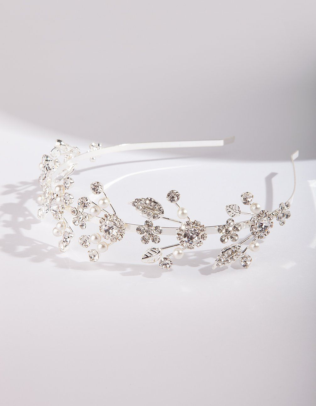 silver fine floral pearl headband | lovisa wedding hair