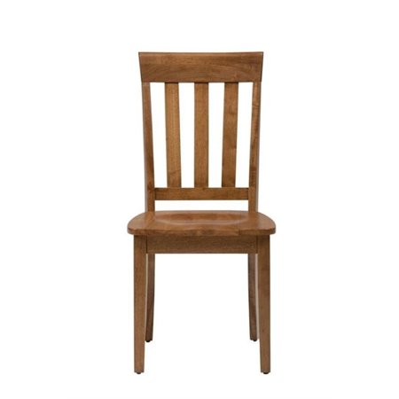 Astounding Bowery Hill Wood Slat Back Dining Chair In Honey Set Of 2 Machost Co Dining Chair Design Ideas Machostcouk