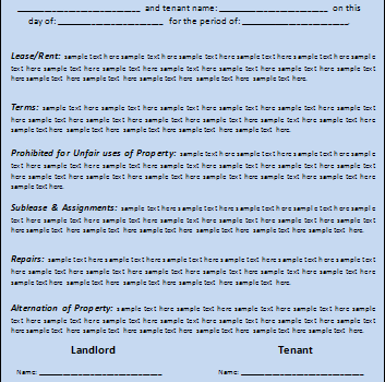 Rental Lease Agreement Templates Free  Fernando