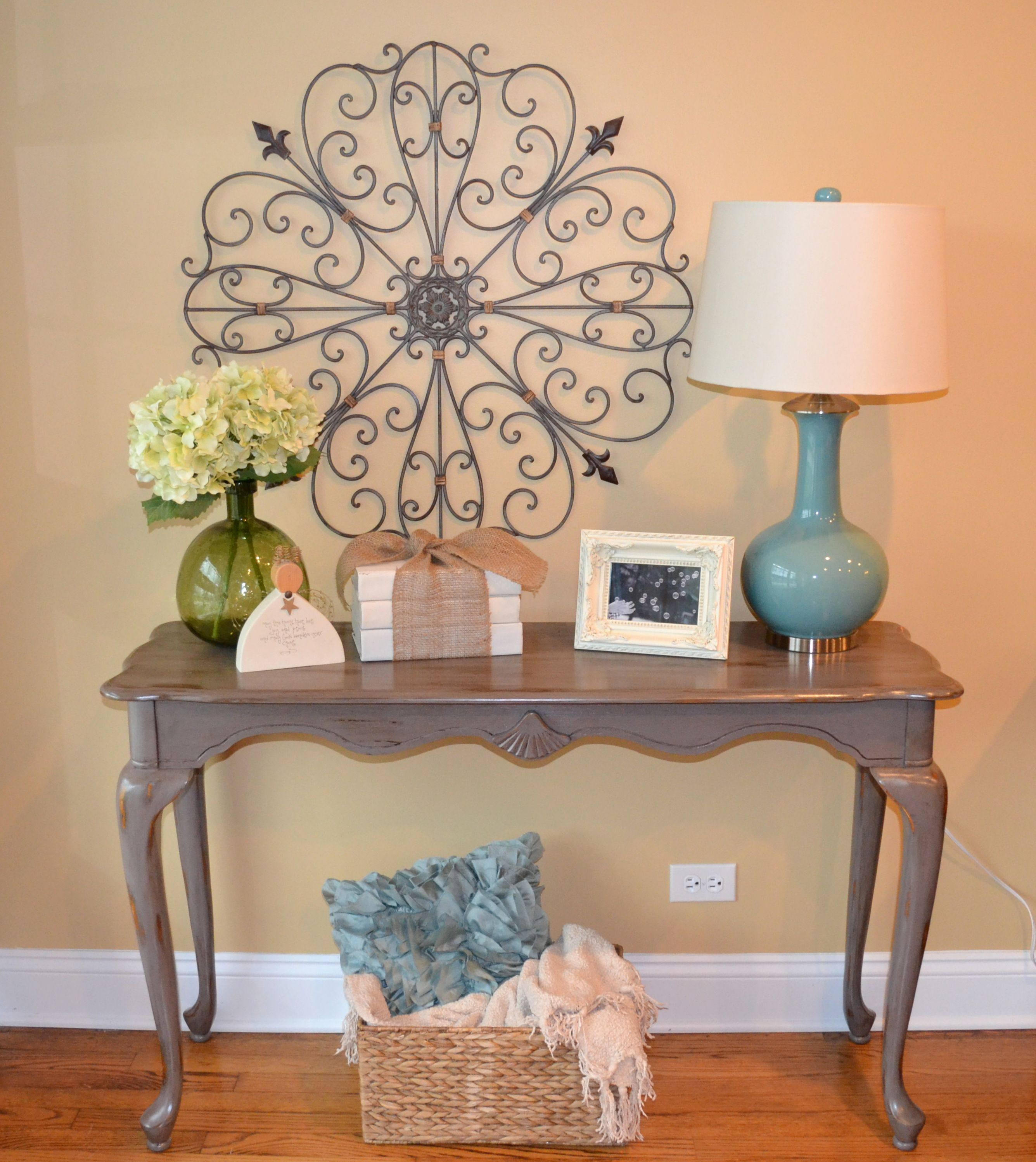 my sisters projects com painted sofa table love the book stack rh pinterest com painted sofa table with drawers hand painted sofa tables