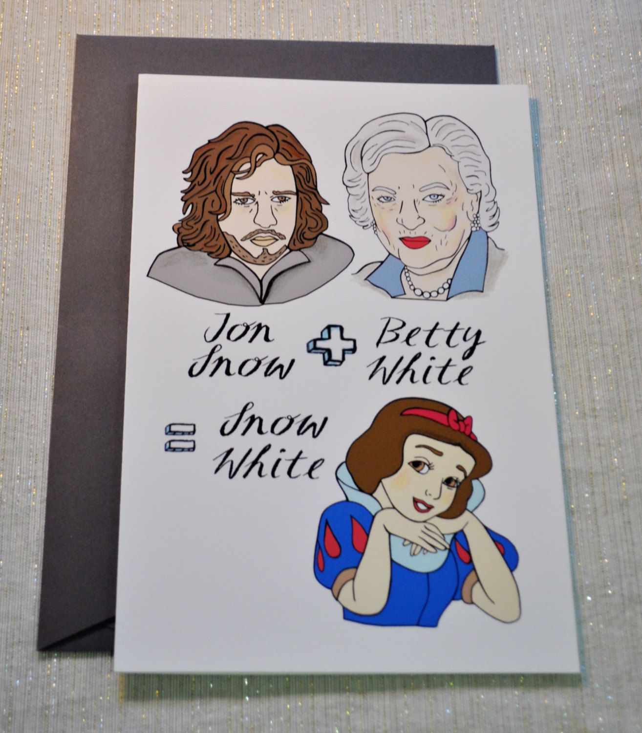 Jon Snow of Game of Thrones plus Betty White equal Snow White