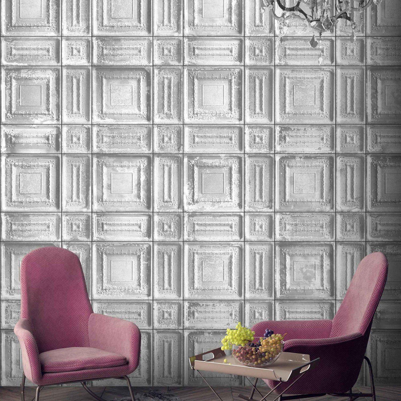 Delancey Tin Tiles Feature Wall Wallpaper Grey
