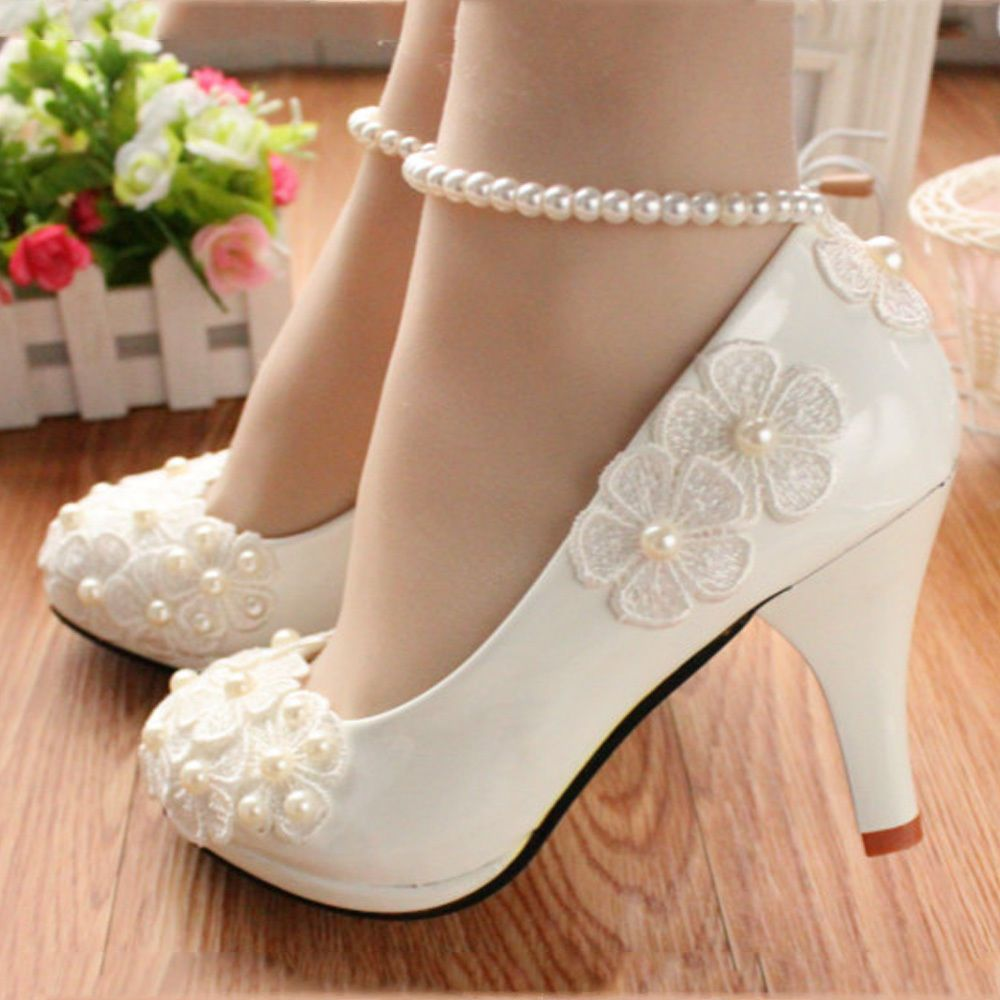 81f8ba10fff5 Lace white ivory crystal Wedding shoes Bridal flats low high heel pump size  5-10 in Clothes
