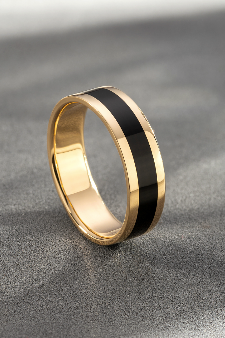 Men S Wedding Band With Monograms Unique Mens Wedding Ring 14k Solid Yellow Gold Ring Gift Wedding Rings Mens Wedding Rings Unique Engagement Rings For Men