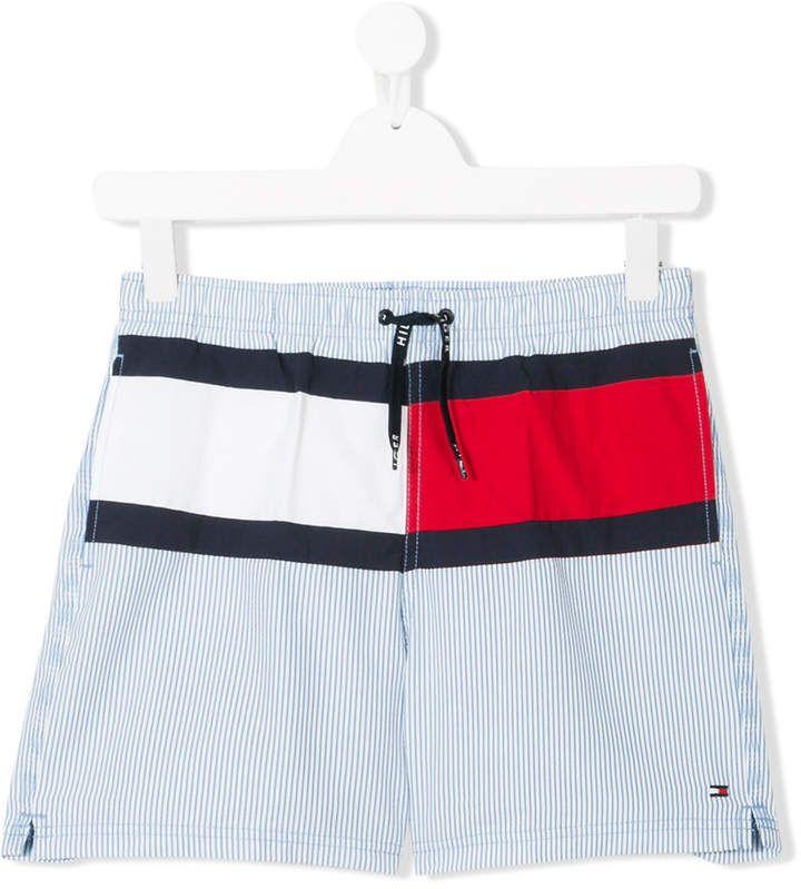 6ab46eaea4 Tommy Hilfiger Junior TEEN logo stripe swim shorts | Tommy Hilfiger ...