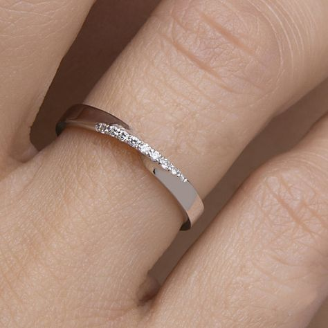 Mobius ring Diamond mobius ring Pave mobius ring Wedding band