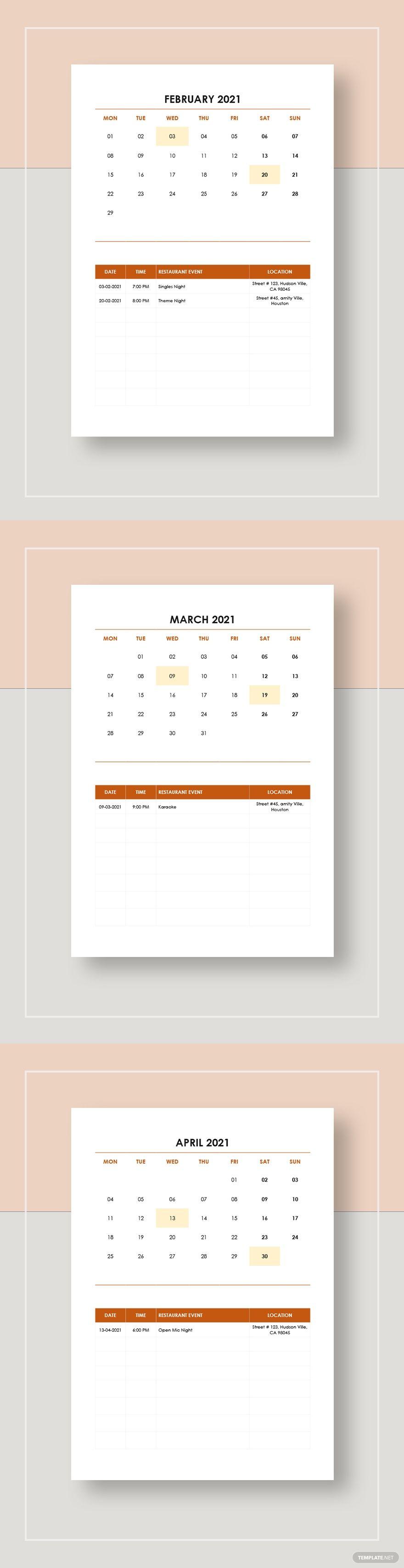 Restaurant Event Calendar Template Free Pdf Google Docs Word Apple Pages Template Net Event Calendar Template Calendar Template Website Template Event calendar template for website