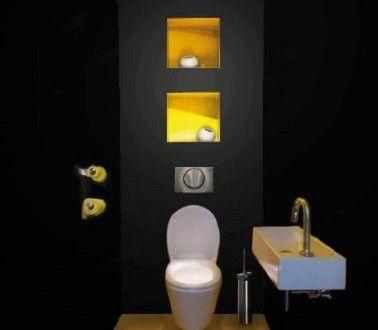 Un wc noir et jaune déco pétillante
