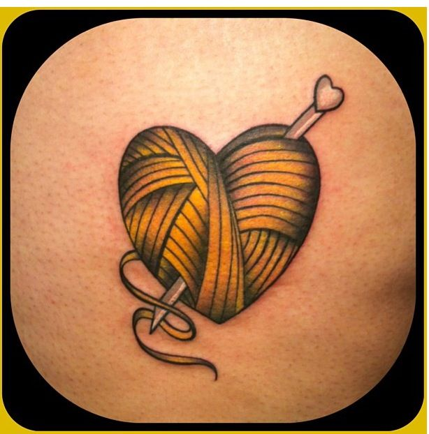Tattoo Ideas Personal: Heart Shaped Ball Of Yarn With Crochet Needle. My Own