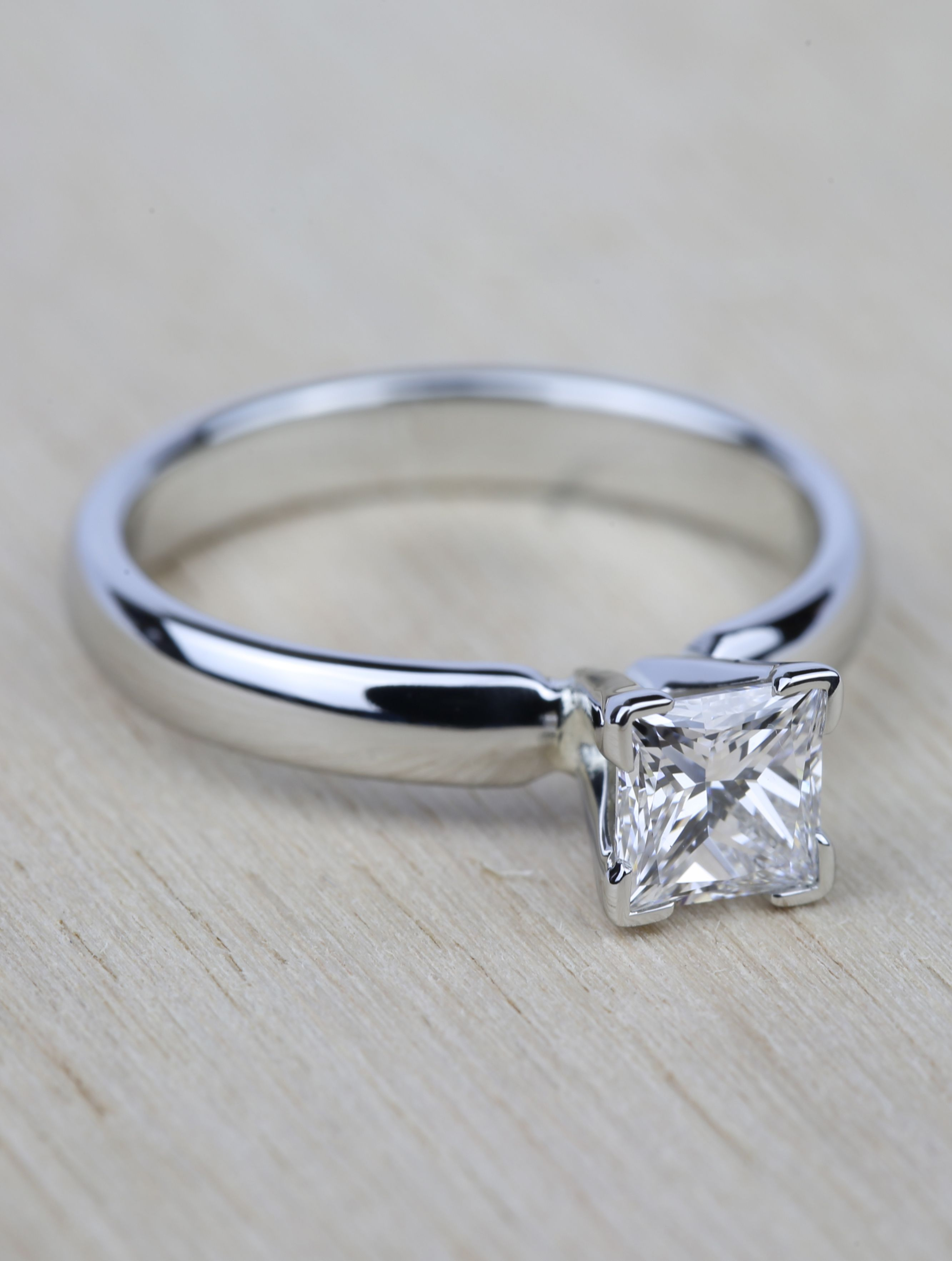 A beautiful recently purchased comfortfit princess cut diamond