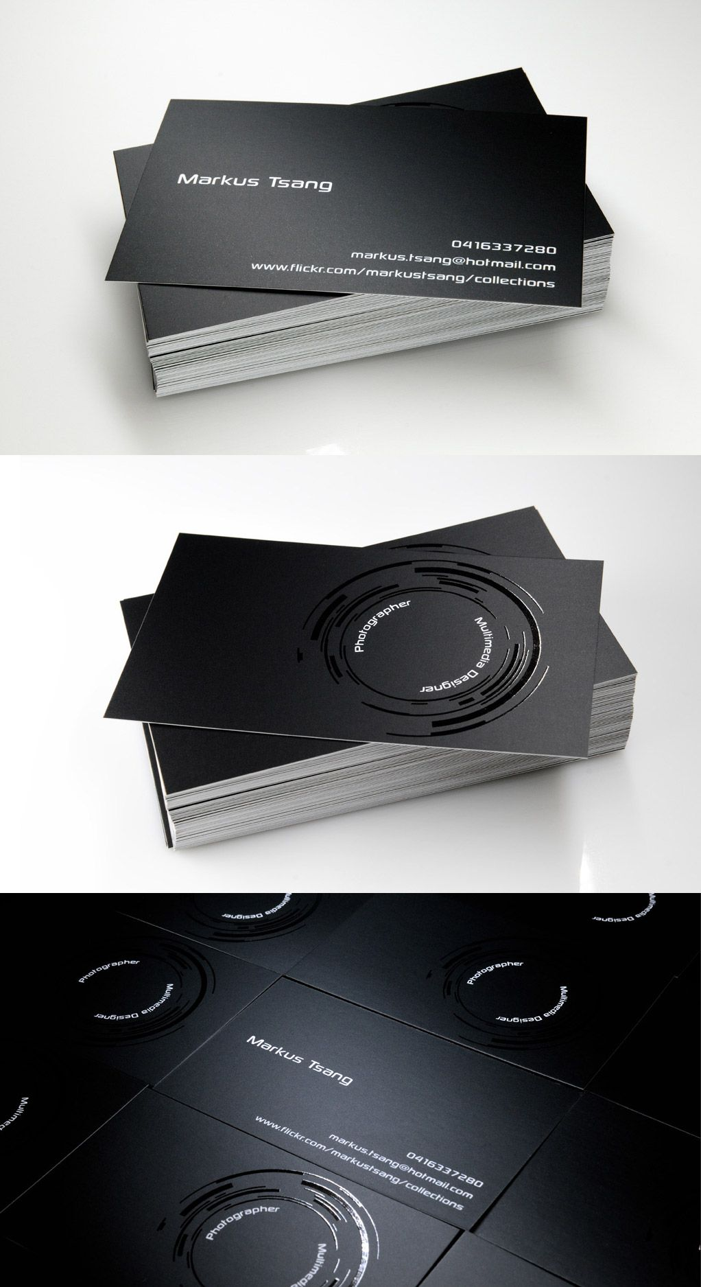 Photography Theme Business Card With A Black Background And High Gloss Rings That Depicts Cameras Lens
