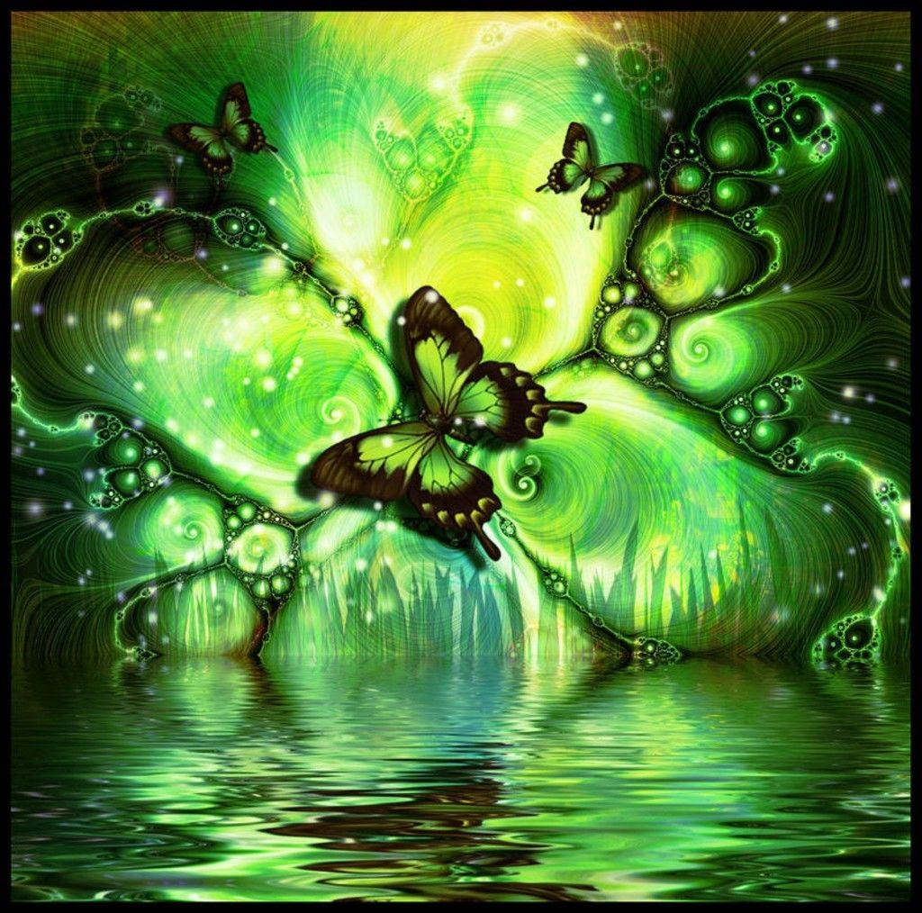 A Woman A Butterfly Good Morning Animation Green Butterfly Butterfly Wallpaper