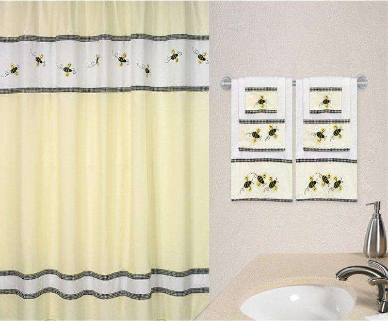 Bumble Bee Shower Curtain Fabric Shower Curtains Bee Decor Bee