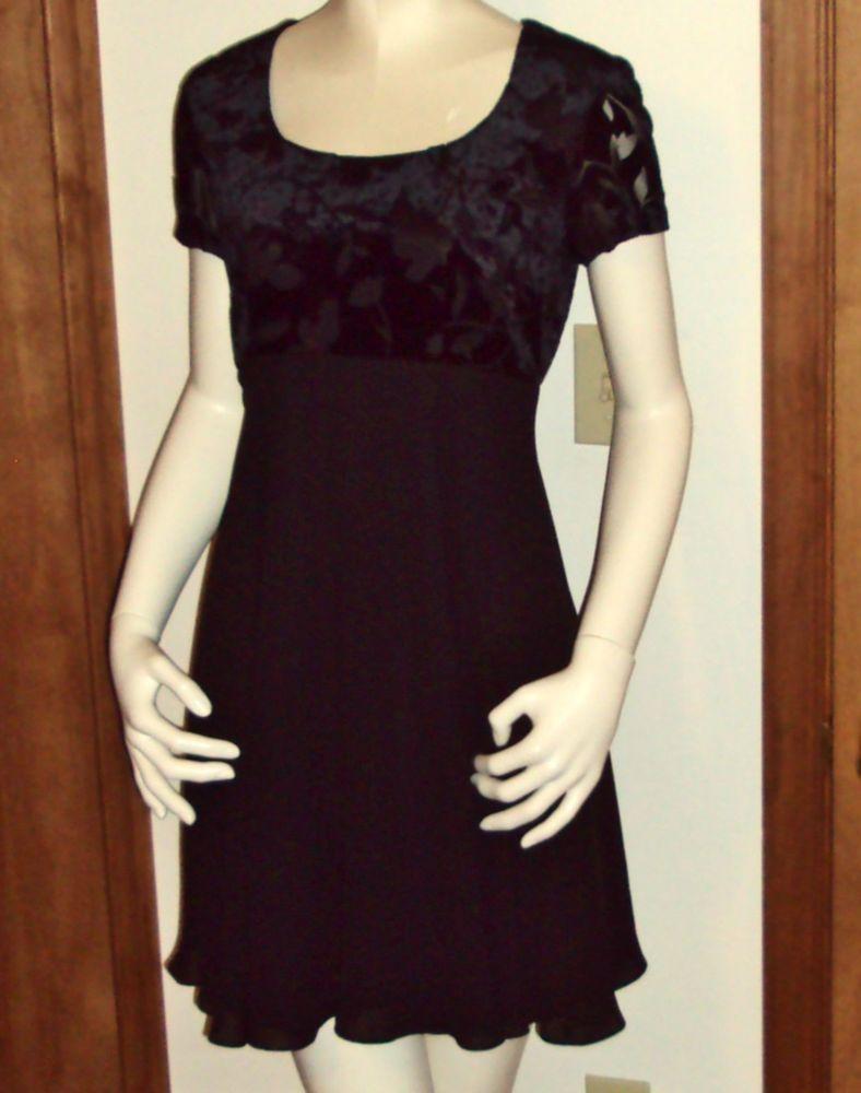 Night Way Collections Little Black Holiday Cocktail Mini Dress Size 8 Vintage  #NightWay #EmpireWaist #LittleBlackDress
