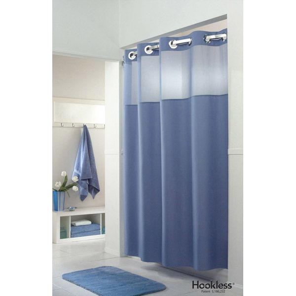 I Like It Fabric Shower Curtains Hookless Shower Curtain Blue