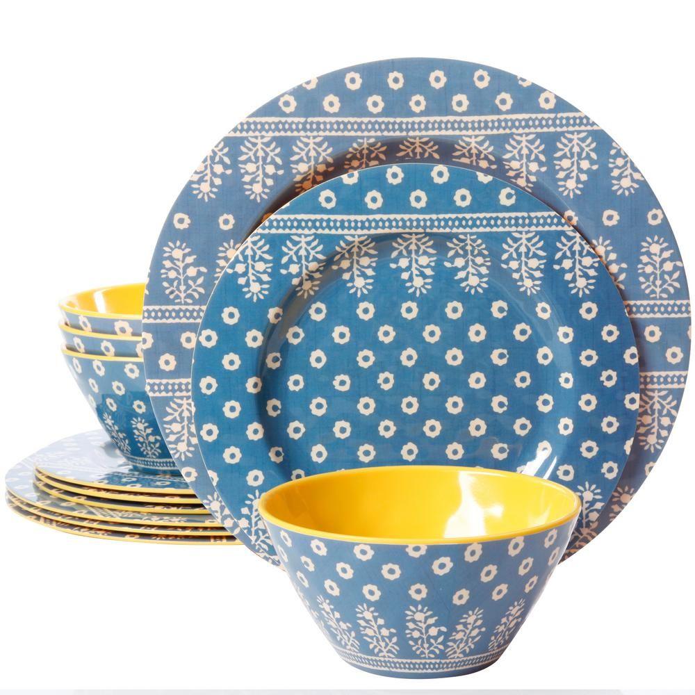 Gibson Studio California Zoey 12-Piece Blue Melamine Dinnerware Set 985110153M - The Home Depot