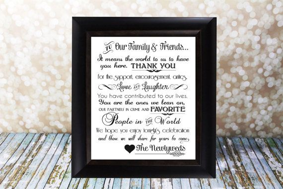 Wedding Thank You Card Fits An 8 X 10 In Frame Family And Friends