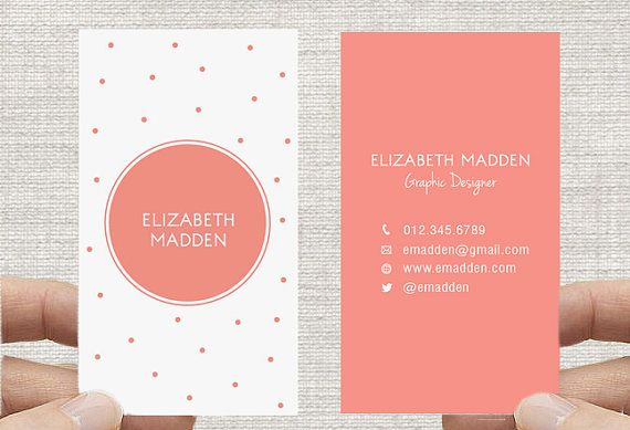 Polka Dot Business Card Spots Confetti Calling Card Printable Diy Custom Digital Download Vertical Business Cards Business Card Maker Business Card Design