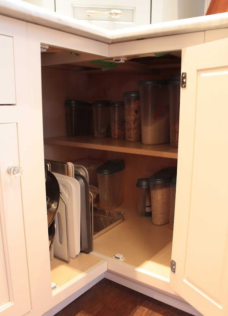 I Can Stack 2 Large King Arthur Flour Containers Here Along With A Large Rice Tupperware Storage In 2020 Corner Kitchen Cabinet Corner Storage Cabinet Kitchen Storage