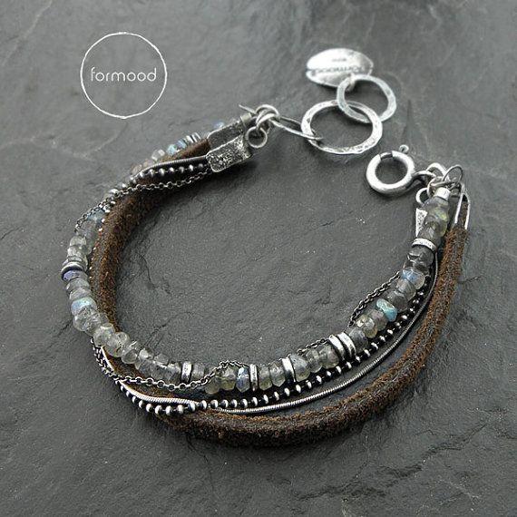 Zwei Armbänder Leder und Sterling silber von studioformood auf Etsy