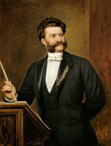 """Johann Strauss Jr (October 25, 1825 – June 3, 1899), was an Austrian composer of light music. He composed over 400 waltzes, polkas, quadrilles, as well as several operettas and a ballet. In his lifetime, he was known as """"The Waltz King"""", and was largely then responsible for the popularity of the waltz in Vienna during the 19th century. Most famous works include The Blue Danube, Kaiser-Walzer, Tales from the Vienna Woods the Tritsch-Tratsch-Polka, Die Fledermaus, Der Zigeunerbaron"""