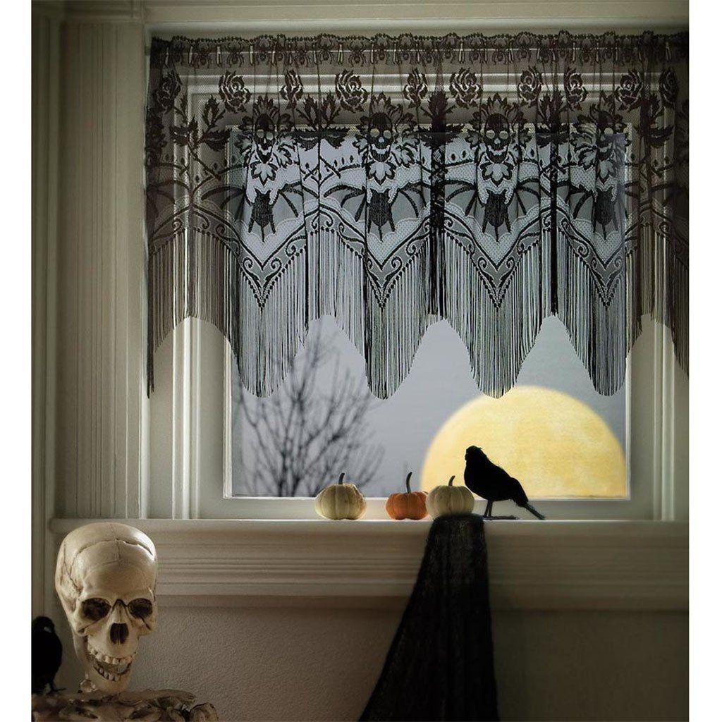 Skulls and Bats Lace Valance