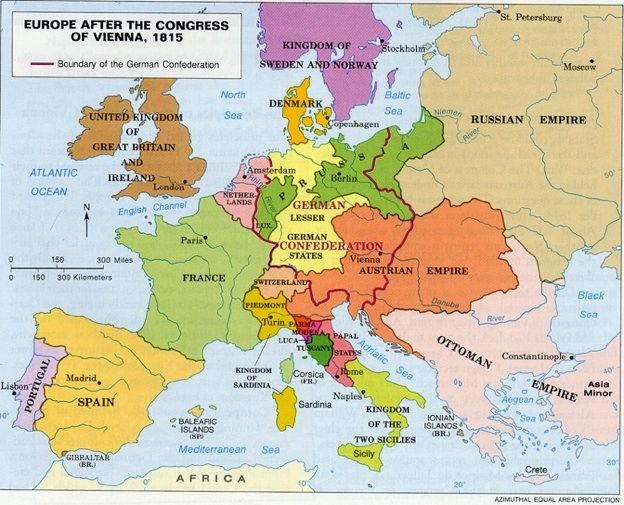 Map Of Europe 1815 europe 1815 map europe after napoleon 624 x 505 ...