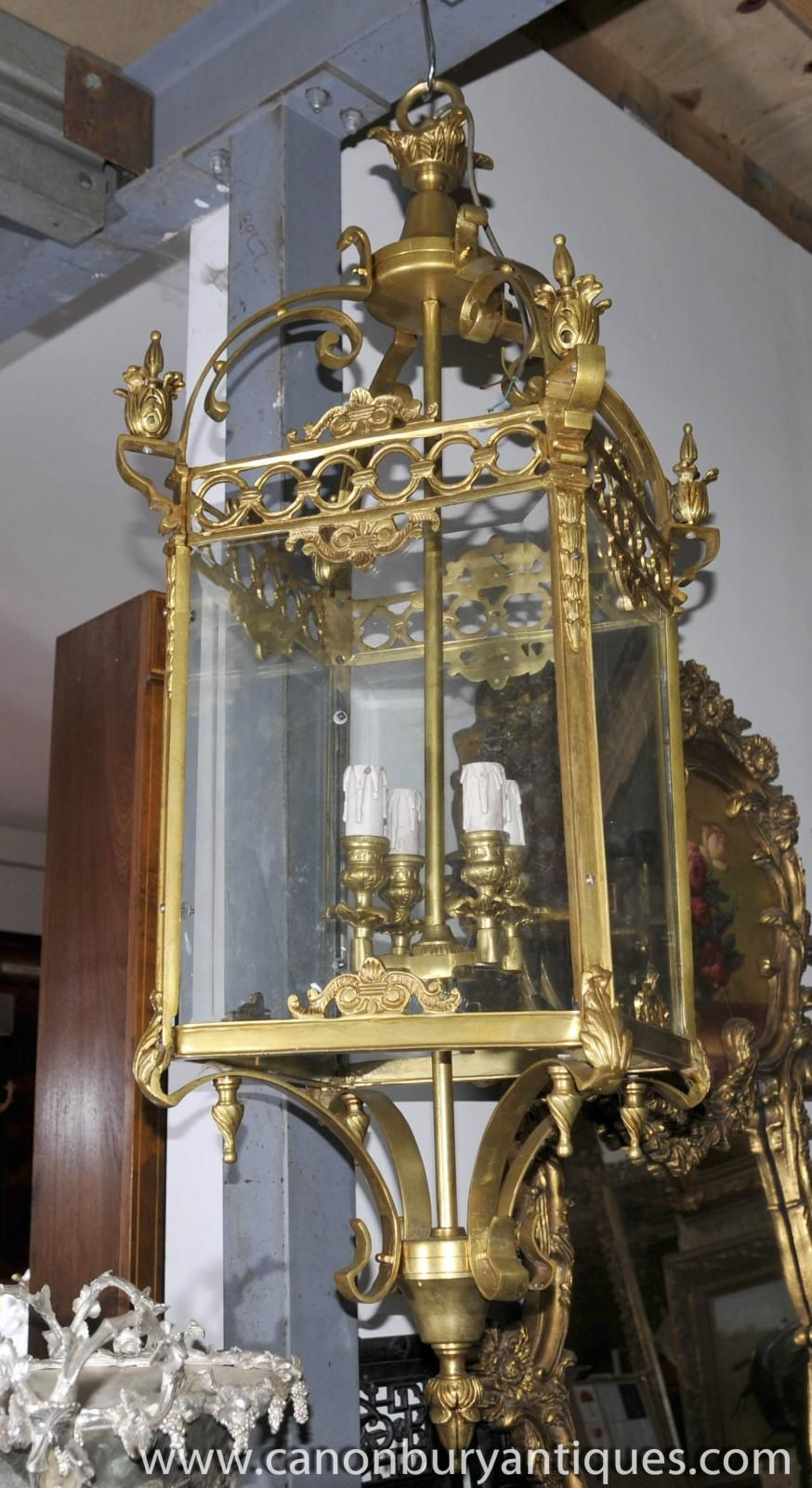 Photo of Large French Empire Brass Lantern Chandelier Light - Photo Of Large French Empire Brass Lantern Chandelier Light