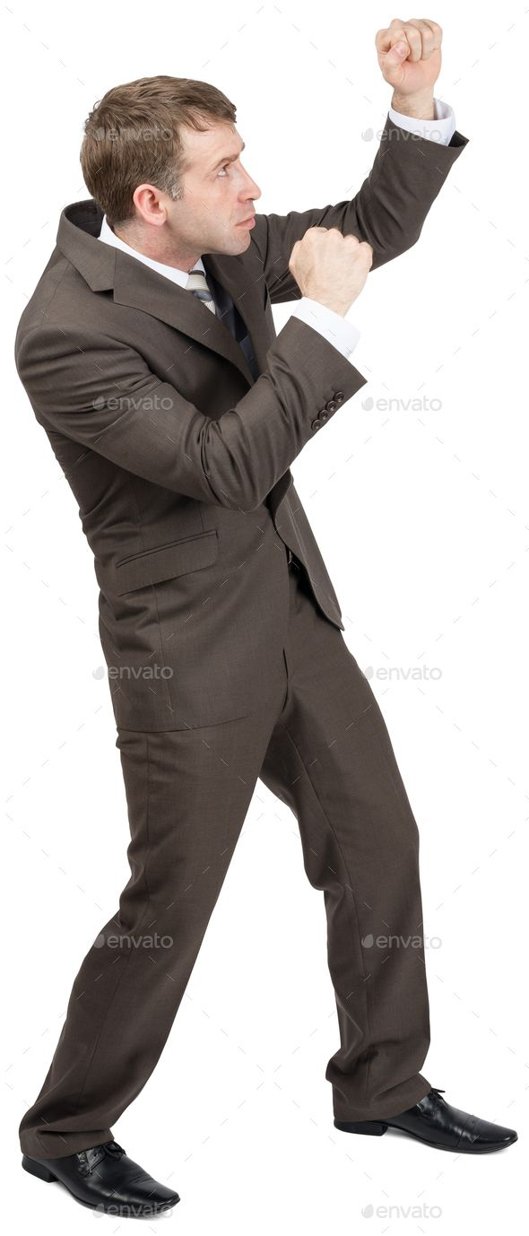 Download Free Businessman Standing In Fighting Stock Arms Up