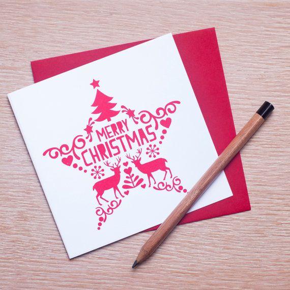 Hand-printed Christmas card Scandinavian Folk Art by zedigdesign