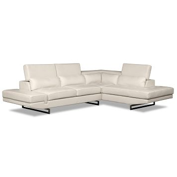 Milan White Leather 2 Pc Sectional Furniture Com 783 99 Value City Furniture Living Room Leather Leather Living Room Furniture