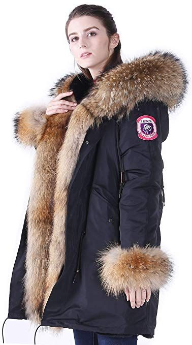 S Romza Women S Winter Fur Parka Coat Large Real Raccoon