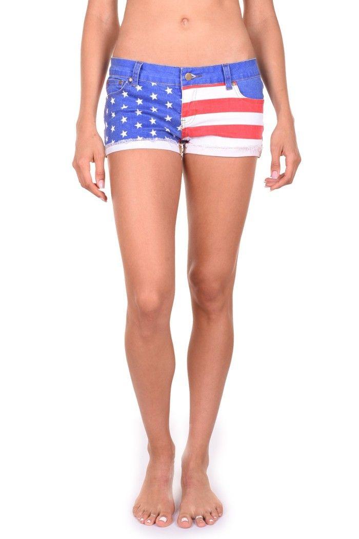 Women's American Flag Jean Shorts