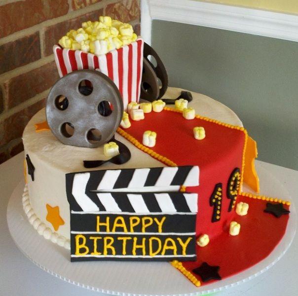 Movie Birthday Cake Ideas Movie Themed Cake Cake Is Strawberry - Movie themed birthday cake