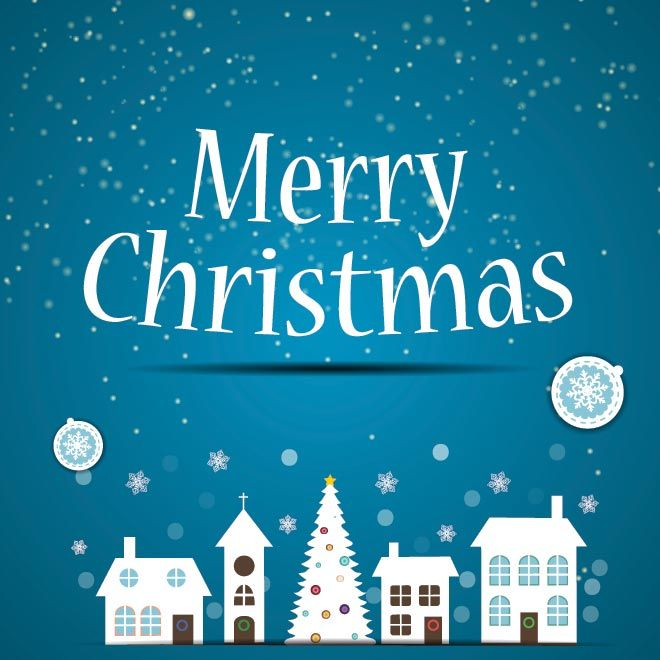 Free Vector silhouette City buildings on Merry Christmas blue ...