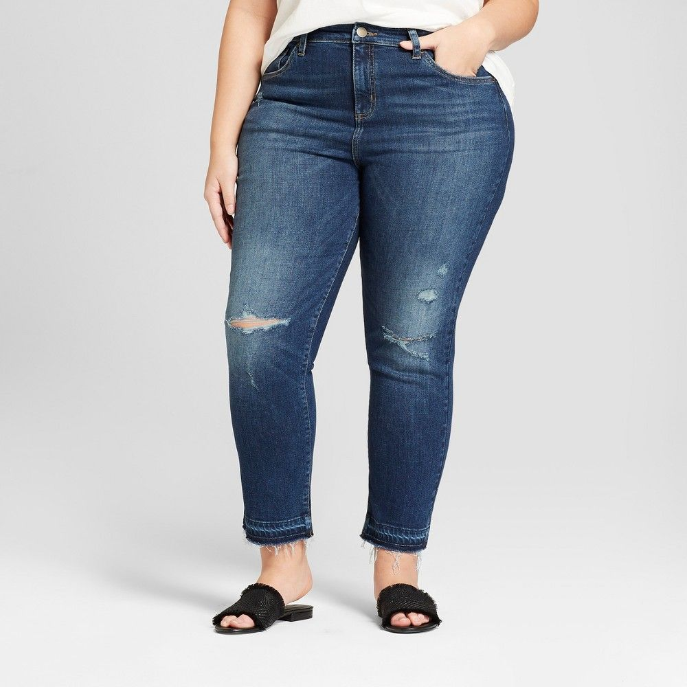 8d9f09dc377 Women s Plus Size Released Hem Straight Jeans - Universal Thread Dark Wash  16W