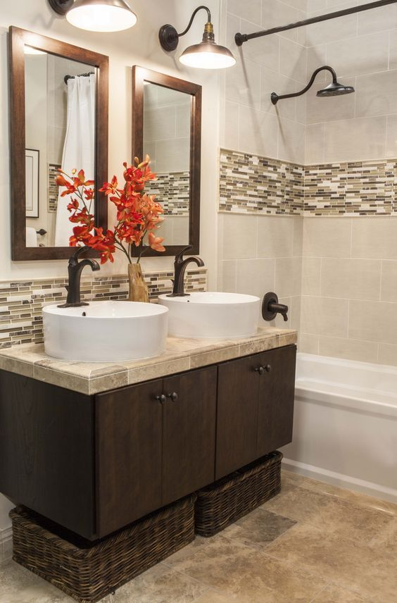earthy narrow tiles for a bathroom wall border Home