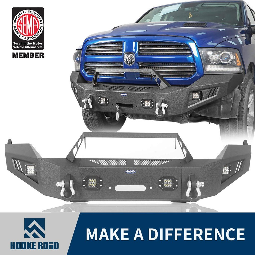Hooke Road® Full Width Front Bumper w/ Winch Plate &  LED Spotlights(13-18 Dodge Ram 1500 Crew Cab 4-Door,Excluding Rebel)