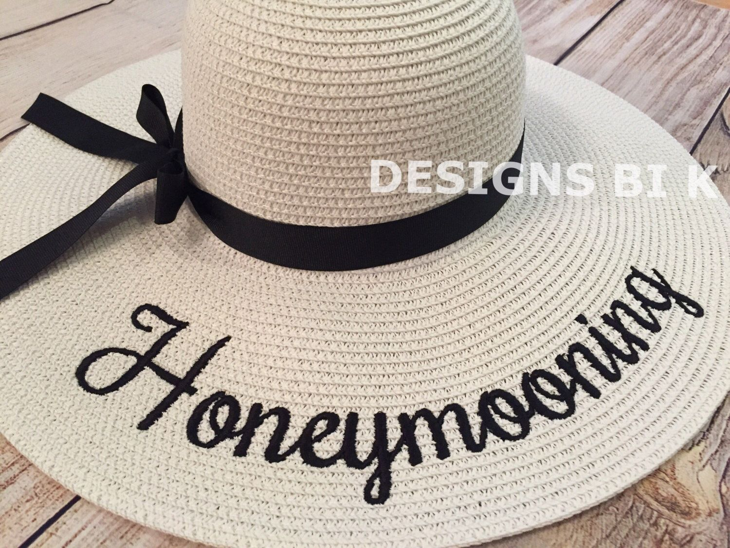 f5bc0117 Honeymoon hat, Personalized sun hat, Honeymoon, Sun hats, Personalized floppy  hat,