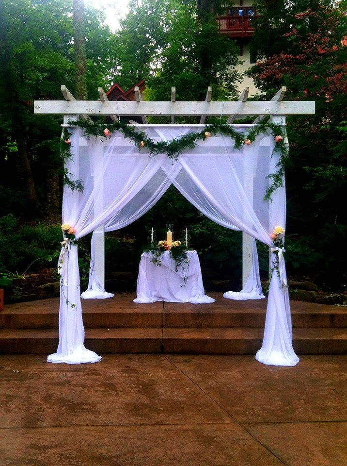 A beautifully decorated pergola at Landoll's Mohican Castle. I love  performing ceremonies here! Call me to schedule yours! www. - Pergola Wedding Decoration Ideas Pergolas, Weddings And Wedding