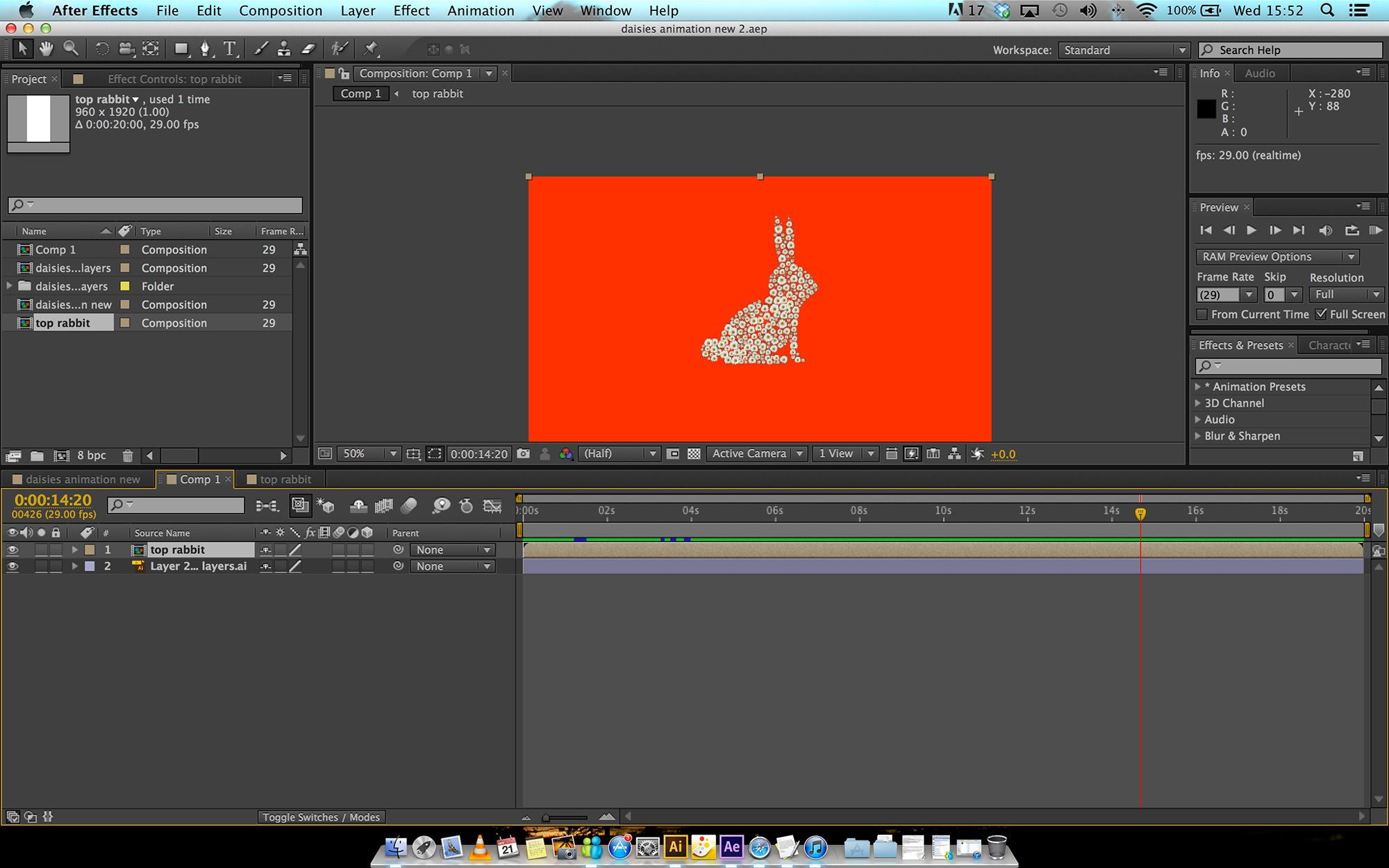 Testing the growth of the rabbit from daises before implementing it into the final movie.