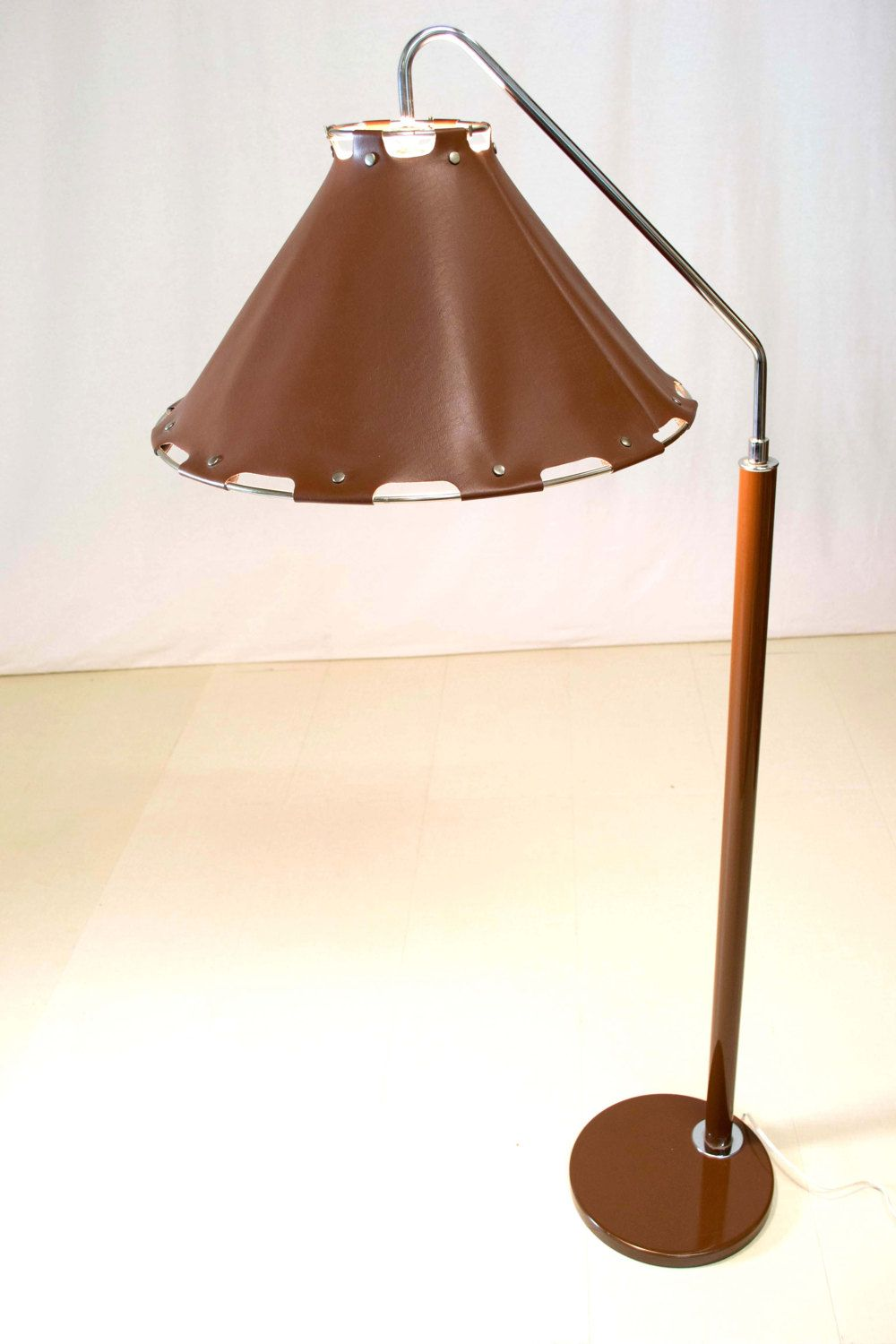 Rare Mid Century Modern Brown Leather Chrome Floor Lamp
