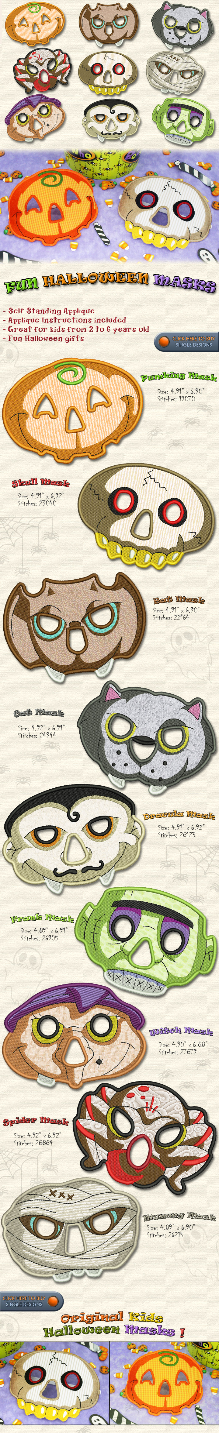 HALLOWEEN MASKS IN THE HOOP - Embroidery Designs Free Embroidery ...