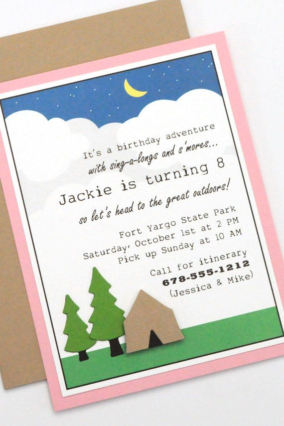 Camping party invitation   Birthday Ideas   Pinterest   Camping ...