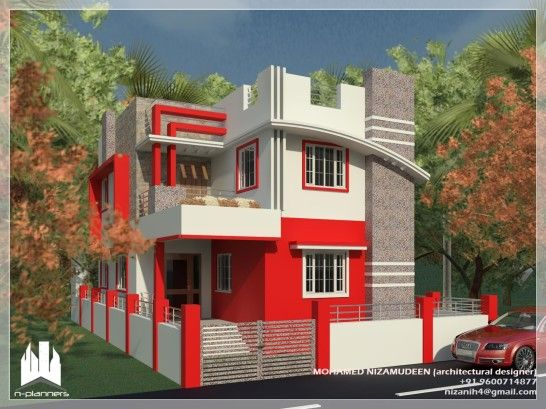 Contemporary Kerala House Designed By Grey And Red Exterior Wall Paint