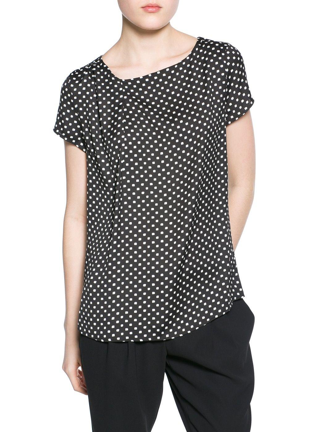 Tie print blouse - MANGO