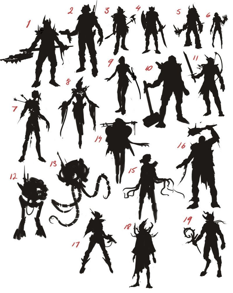 Character Design Silhouette Tutorial : Silhoutte sheet character design references https