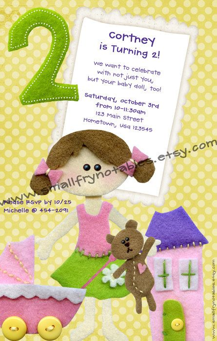 Baby Doll Party Personalized Printable By Smallfrynotables On Etsy 1200 Wording